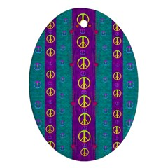 Peace Be With Us This Wonderful Year In True Love Oval Ornament (two Sides)