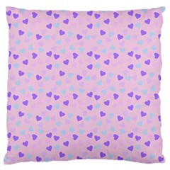 Blue Pink Hearts Large Flano Cushion Case (one Side)