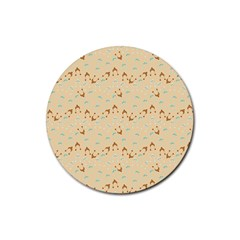 Winter Hats Beige Rubber Coaster (round)