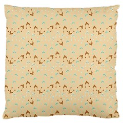 Winter Hats Beige Large Flano Cushion Case (one Side)