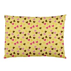 Beige Hearts Pillow Case (two Sides)