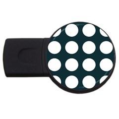 Big Dot Teal Blue Usb Flash Drive Round (2 Gb)
