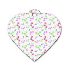 Candy Cherries Dog Tag Heart (two Sides)