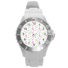 Candy Cherries Round Plastic Sport Watch (l)