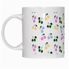 Green Cherries White Mugs