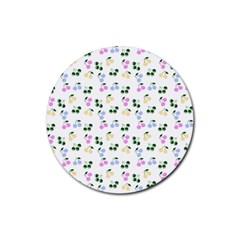 Green Cherries Rubber Coaster (round)