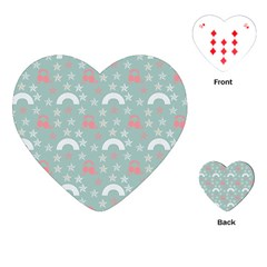Music Stars Sky Blue Playing Cards (heart)