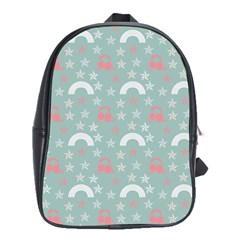 Music Stars Sky Blue School Bag (large)