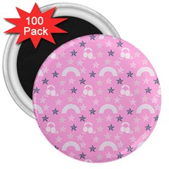 Music Star Pink 3  Magnets (100 Pack)