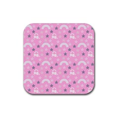 Music Star Pink Rubber Coaster (square)