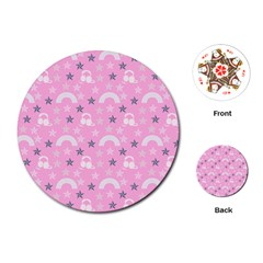Music Star Pink Playing Cards (round)