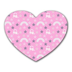 Music Star Pink Heart Mousepads
