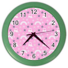 Music Star Pink Color Wall Clocks