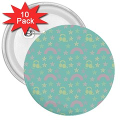 Music Stars Seafoam 3  Buttons (10 Pack)
