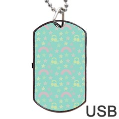 Music Stars Seafoam Dog Tag Usb Flash (two Sides)