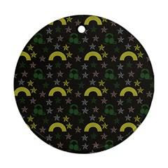 Music Star Dark Grey Ornament (round)