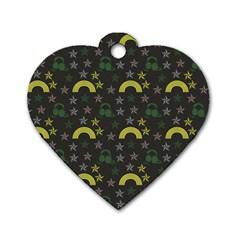 Music Star Dark Grey Dog Tag Heart (one Side)