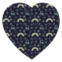 Music Stars Dark Teal Jigsaw Puzzle (heart)