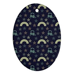 Music Stars Dark Teal Oval Ornament (two Sides)