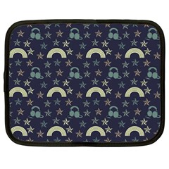Music Stars Dark Teal Netbook Case (large)