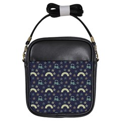 Music Stars Dark Teal Girls Sling Bags