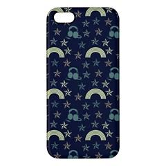 Music Stars Dark Teal Apple Iphone 5 Premium Hardshell Case