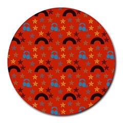 Music Stars Red Round Mousepads