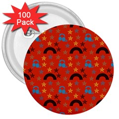 Music Stars Red 3  Buttons (100 Pack)