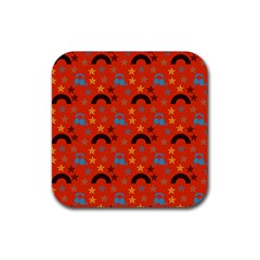 Music Stars Red Rubber Square Coaster (4 Pack)