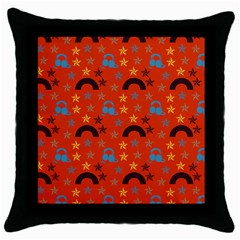 Music Stars Red Throw Pillow Case (black)