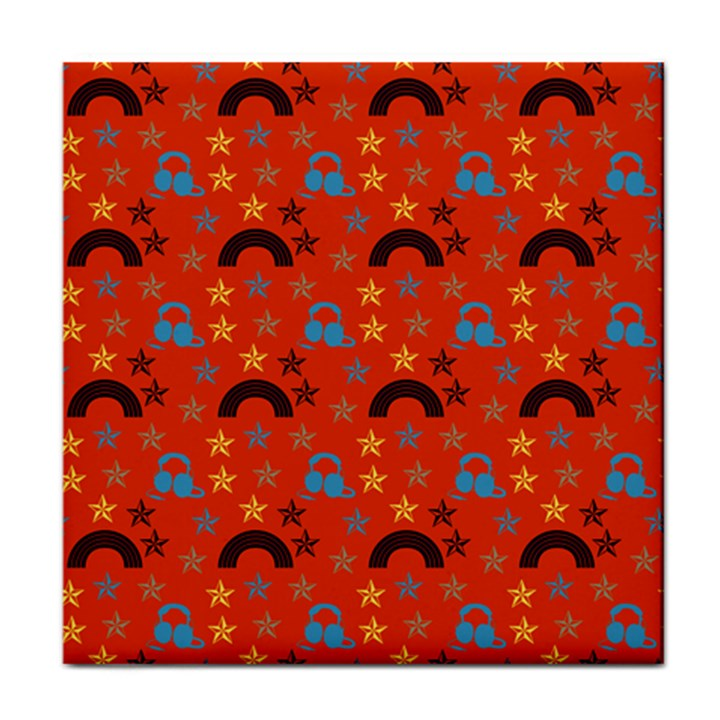 Music Stars Red Face Towel