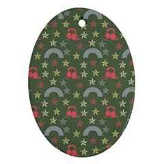 Music Stars Grass Green Ornament (oval)