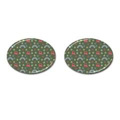 Music Stars Grass Green Cufflinks (oval)