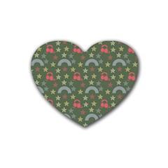 Music Stars Grass Green Rubber Coaster (heart)