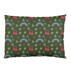 Music Stars Grass Green Pillow Case (two Sides)