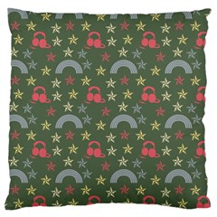 Music Stars Grass Green Large Cushion Case (two Sides)