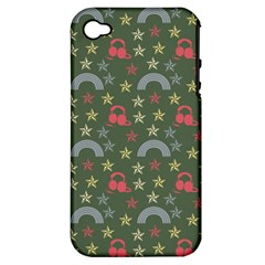 Music Stars Grass Green Apple Iphone 4/4s Hardshell Case (pc+silicone)
