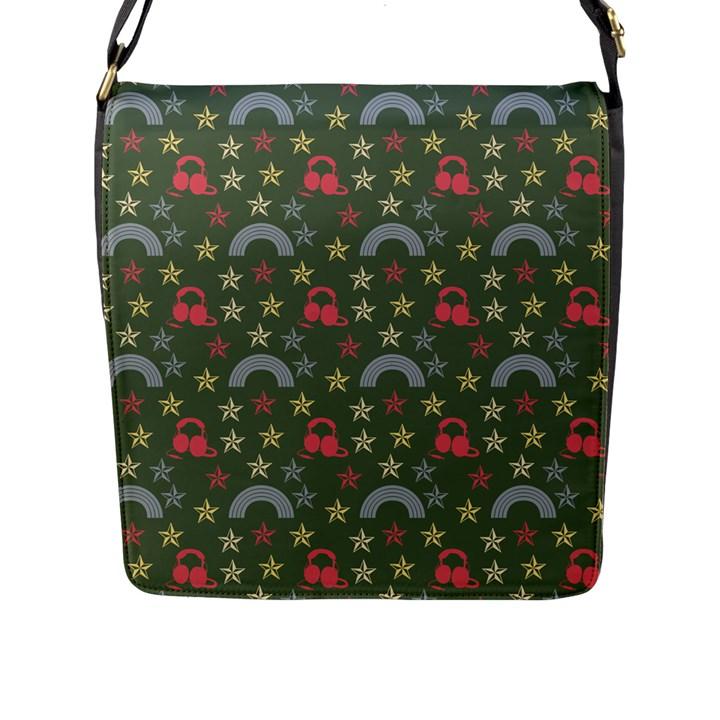 Music Stars Grass Green Flap Messenger Bag (L)