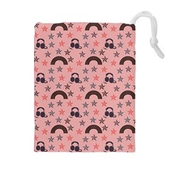Music Stars Peach Drawstring Pouches (extra Large)