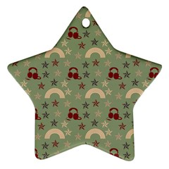 Music Stars Green Star Ornament (two Sides)