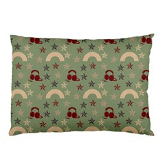 Music Stars Green Pillow Case (two Sides)