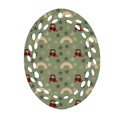 Music Stars Green Oval Filigree Ornament (two Sides)