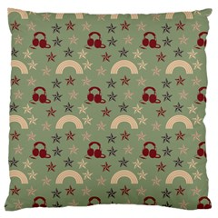Music Stars Green Large Cushion Case (two Sides)