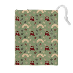 Music Stars Green Drawstring Pouches (extra Large)