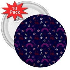 Music Stars Navy 3  Buttons (10 Pack)