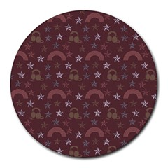 Music Stars Brown Round Mousepads