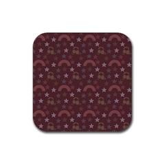 Music Stars Brown Rubber Coaster (square)