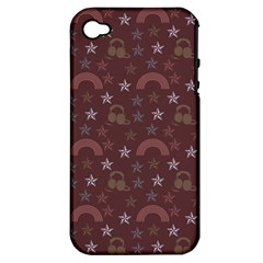 Music Stars Brown Apple Iphone 4/4s Hardshell Case (pc+silicone)