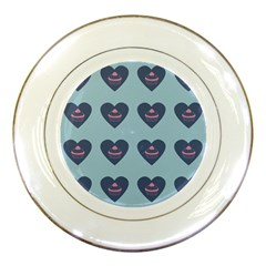 Cupcake Heart Teal Blue Porcelain Plates