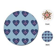 Cupcake Heart Teal Blue Playing Cards (round)